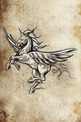 Tattoo unicorn sketch, handmade design over vintage paper