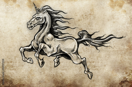 Horse with wings, unicorn,  Tattoo sketch, handmade design over