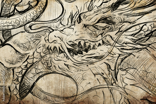 Tattoo japanese dragon sketch, handmade design over vintage pape