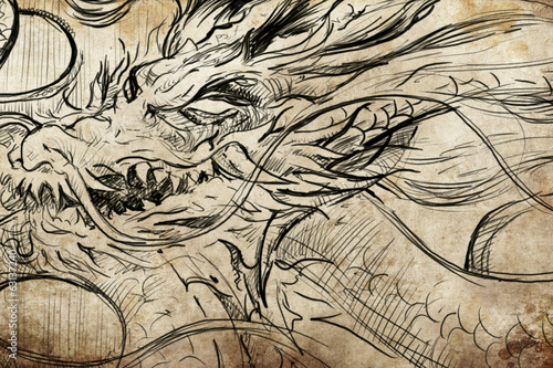 dragon Tattoo sketch, handmade design over vintage paper