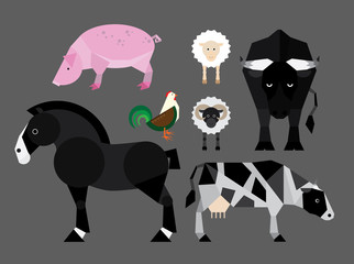 Simple colorful flat illustration of farm animals