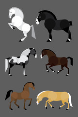 Simple flat ilustration of 6 colorful horses