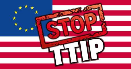 Flagge EU USA mit STOP TTIP