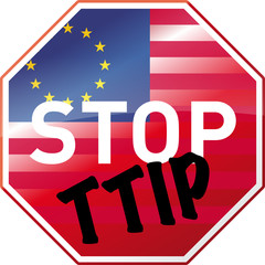 Stopschild EU USA mit STOP TTIP