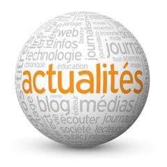 """Globe - Nuage de Tags """"ACTUALITES"""" (médias informations bouton)"""