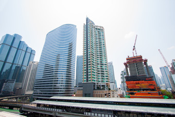 The modern buildings of the city skyscrapers