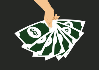 hand displaying a spread of cash