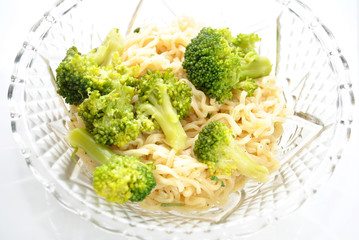 Vegetarian Ramen Noodle Dinner with Broccoli