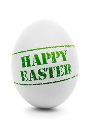 "Easter egg with grunge ""Happy Easter"" stamp isolated,"