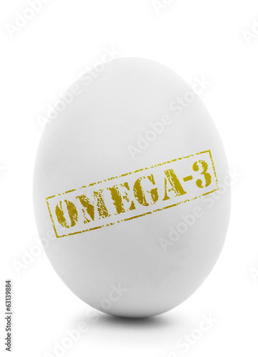 White egg with grunge label Omega-3 isolated