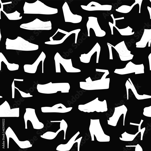 Silhouette pattern set of men's  and of women's shoes