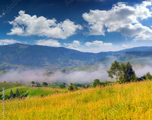 Colorful summer landscape in the mountain village