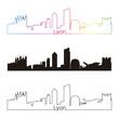 Lyon skyline linear style with rainbow
