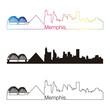 Memphis skyline linear style with rainbow