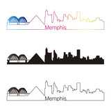 Memphis skyline linear style with rainbow poster