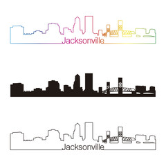Jacksonville skyline linear style with rainbow