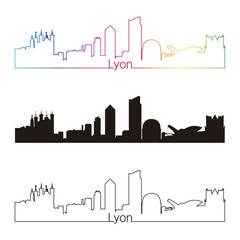 Lyon skyline linear style with rainbow