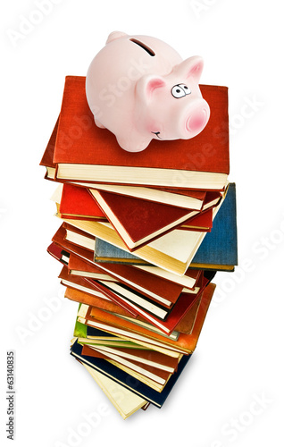 piggy bank on books