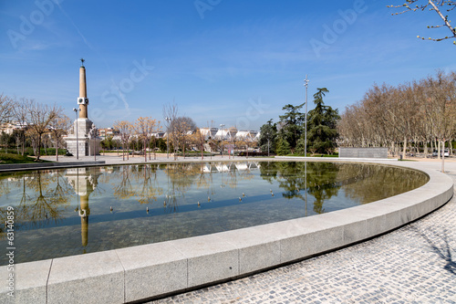Madrid Río park, fountain, obelisk and fund Perrault bridge