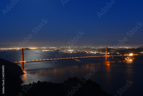 Golden Gate Bridge and San Francisco at night, California, USA