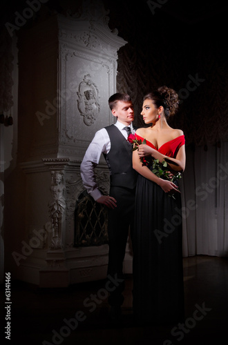 Young couple at ancient room