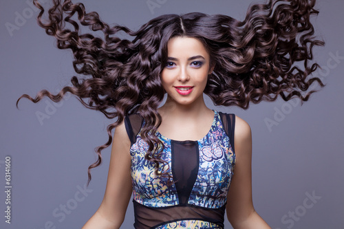 Beautiful Brunette Girl with Healthy Long Hair - 63141600