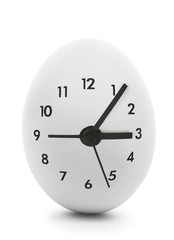Clock dial on white egg isolated on white background