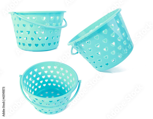 collage of blue baskets