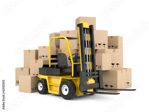 Forklift and cardboard boxes