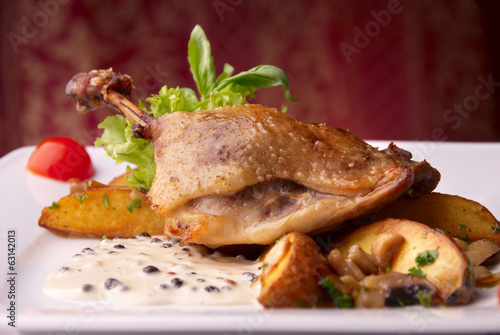 duck leg with potato