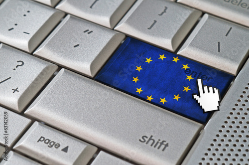 Business concept mouse cursor pressing Union European enter key