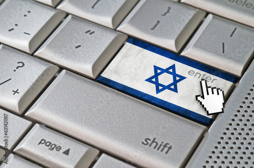 Business concept mouse cursor pressing Israel enter key on metal