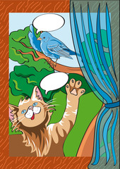 gatto con uccellino