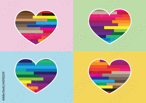 Heart Icon and Hearts symbol lines abstract idea design
