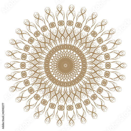 Decorative gold flower with vintage round patterns