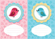 Постер, плакат: Baby girl and baby boy cards with cute bird