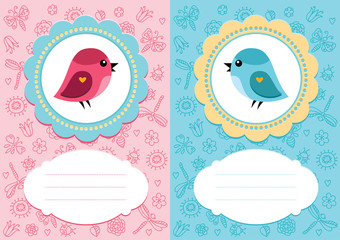 Baby-girl and baby-boy cards with cute bird