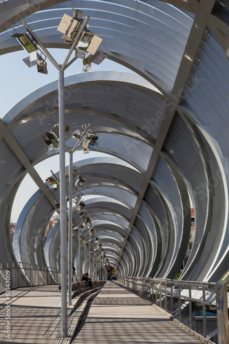 interkior Perrault bridge view in Rio Madrid, Spain