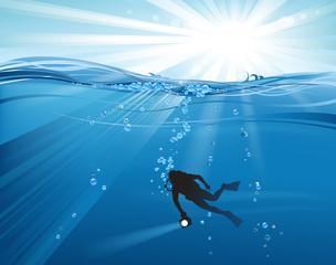 underwater and sun