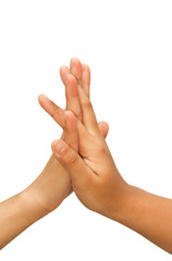 two hands making hi-five gesture