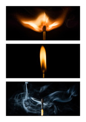 Triptych of a burning match