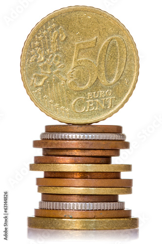 Vertically stacked coins