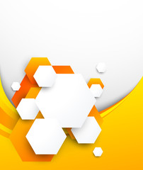 Abstract orange brochure with hexagons