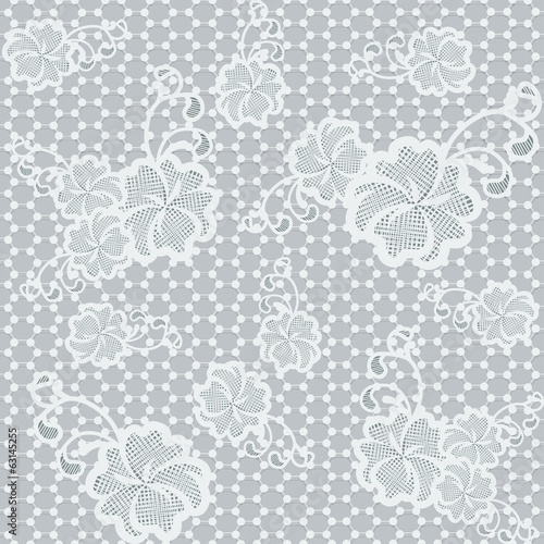 Light seamless lace fabric with floral pattern.