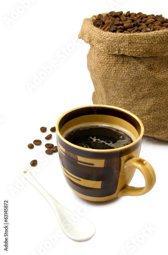 image of a cup of coffee and a sack of coffee beans
