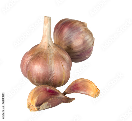 Organic garlic whole and cloves isolated on white