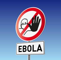 Schild Vorsicht Ebola mit Himmel