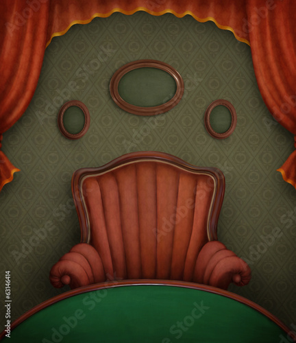 Green room with a poker table