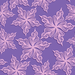 Floral seamless pattern. Pink flowers with violet background.