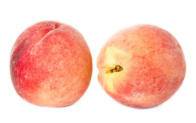 Ripe peaches fruits isolated on white background